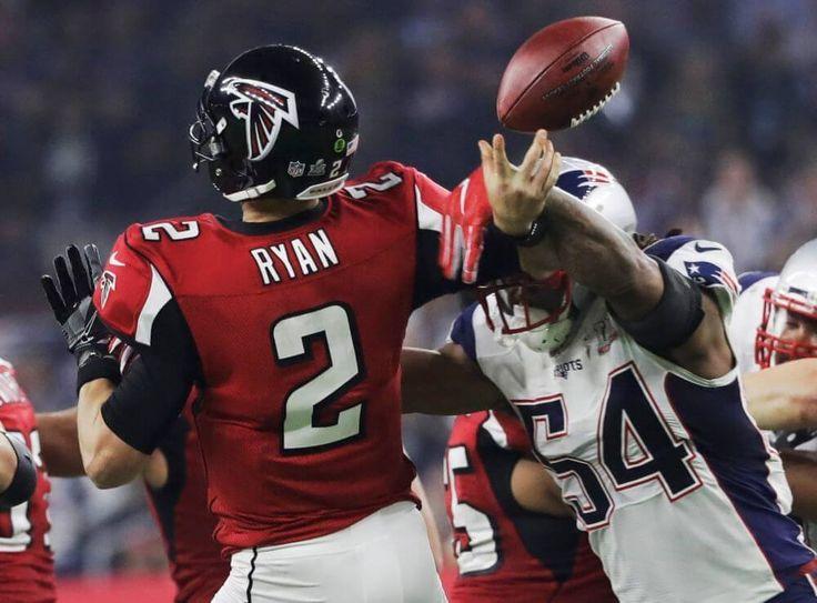 New England Patriots' Dont'a Hightower knocks the ball away from Atlanta Falcons' Matt Ryan during the second half of the NFL Super Bowl 51 football game Sunday, Feb. 5, 2017, in Houston. (AP Photo/Chuck Burton)