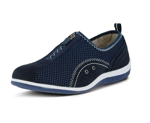 Spring Step Women's Racer Zip-up Casual Shoes Navy Blue Size 41.0 EU / 10.0W US