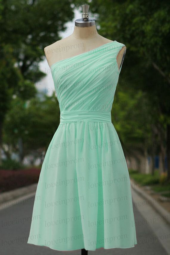 Mint Prom DressMint Handmade Chiffon Bridesmaid by loveinprom