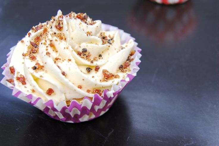Maple cupcakes with maple buttercream and bacon sprinkles