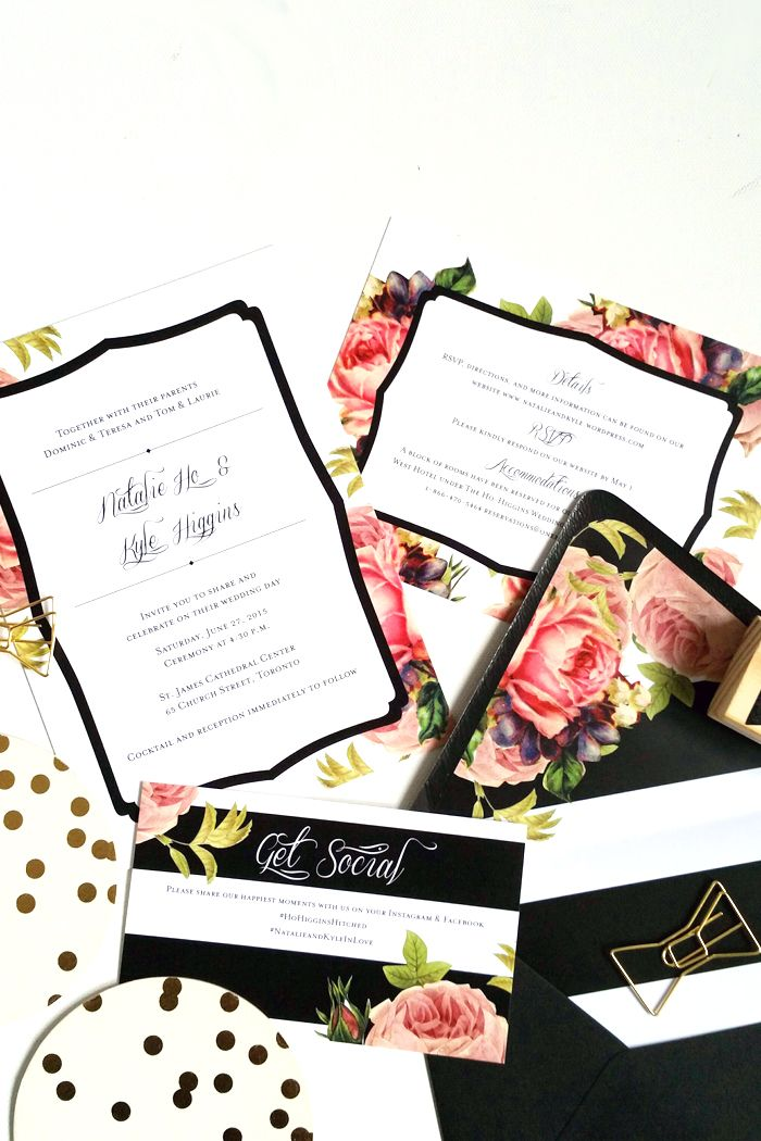 DIY Wedding Invitation Envelop Liners Black and White Stripe invites... I like the black outline on the cards, not so much the floral