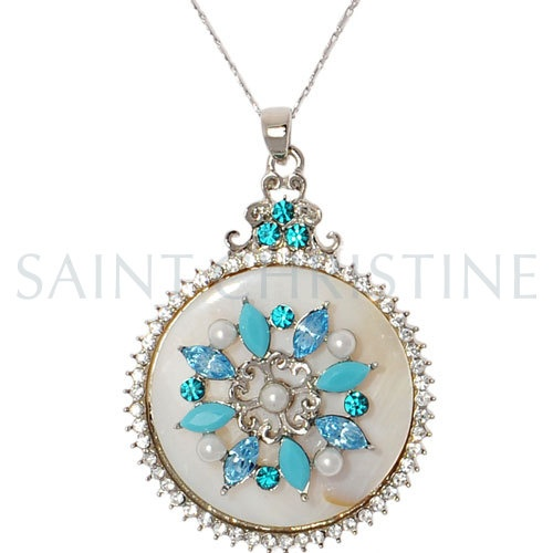 Fashion Round Plate Pearl and Blue Rhinestone Necklace at Saintchristine.com