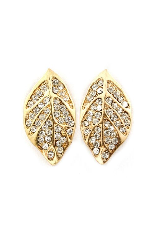 Crystal Leaf Earrings | Awesome Selection of Chic Fashion Jewelry | Emma Stine Limited