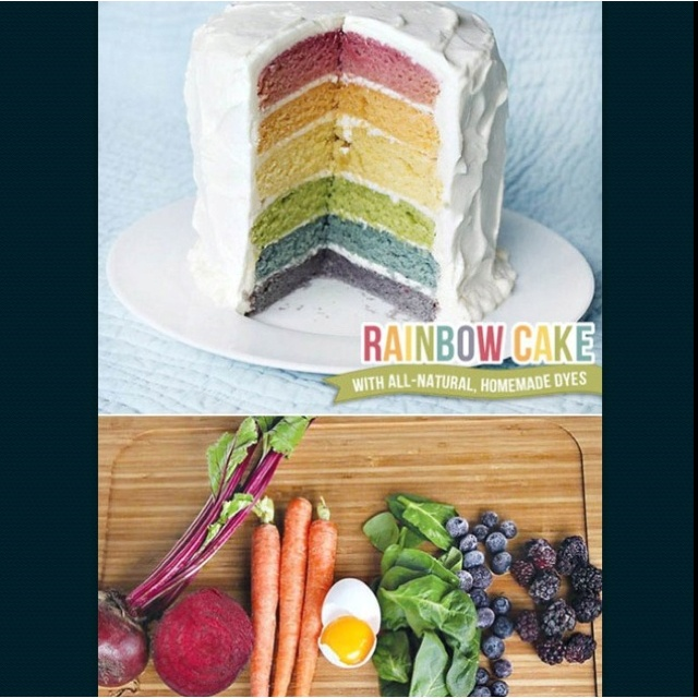 All natural rainbow cake!  http://blog.hwtm.com/2012/04/tutorial-rainbow-cake-with-homemade-all-natural-dyes/  Using beet juice, carrot juice, egg yolks, spinach, blueberries, and blackberries!!