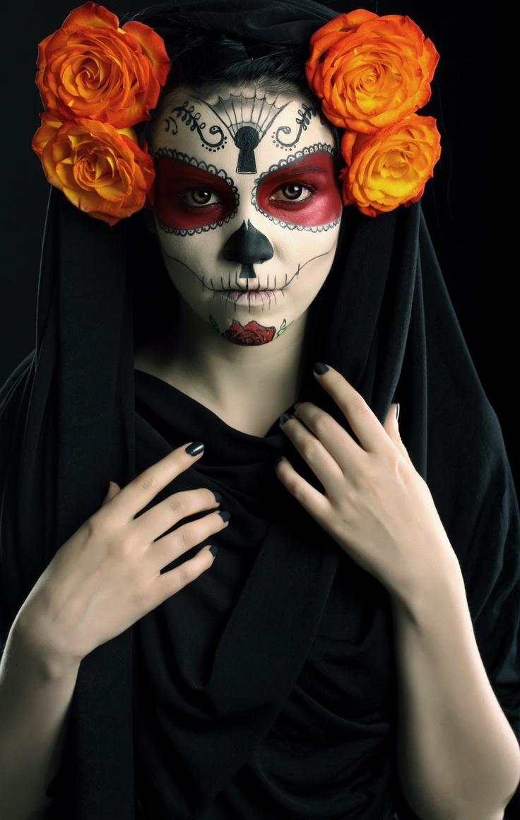 La Catrina - Facepaint, flowers, veil, nails, the whole deal