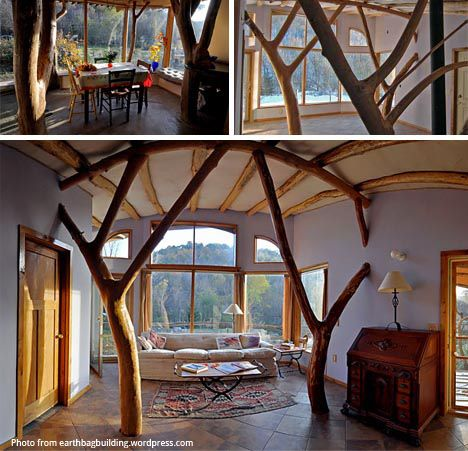 roald-gunderson-whole-tree-building. Interior of an earthbag home.