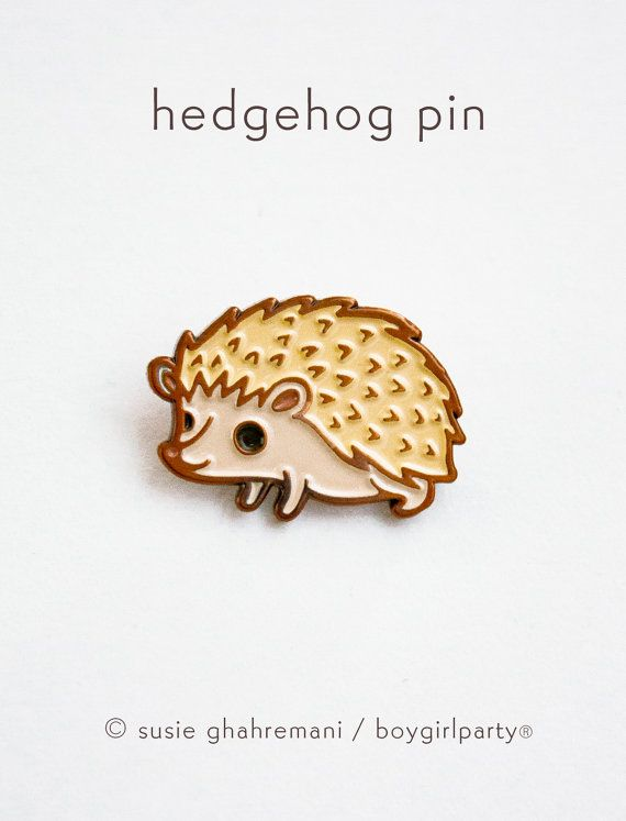 You will receive this enamel pin featuring a unique drawing of a hedgehog by Susie Ghahremani / boygirlparty.com  Made of iron with a copper colored