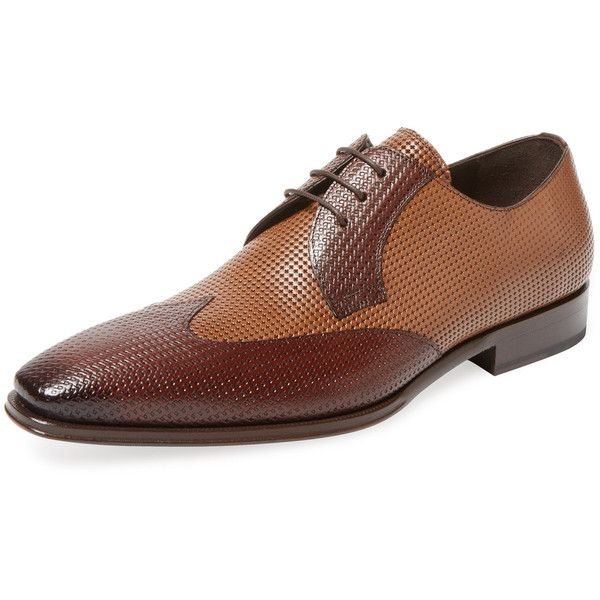 Mezlan Men's Wing Double Perforated Derby Shoe - Brown - Size 10 ($219) ❤ liked on Polyvore featuring men's fashion, men's shoes, men's dress shoes, brown, mens derby shoes, mens brown wingtip shoes, mens brown dress shoes, mens perforated shoes and mezlan mens shoes