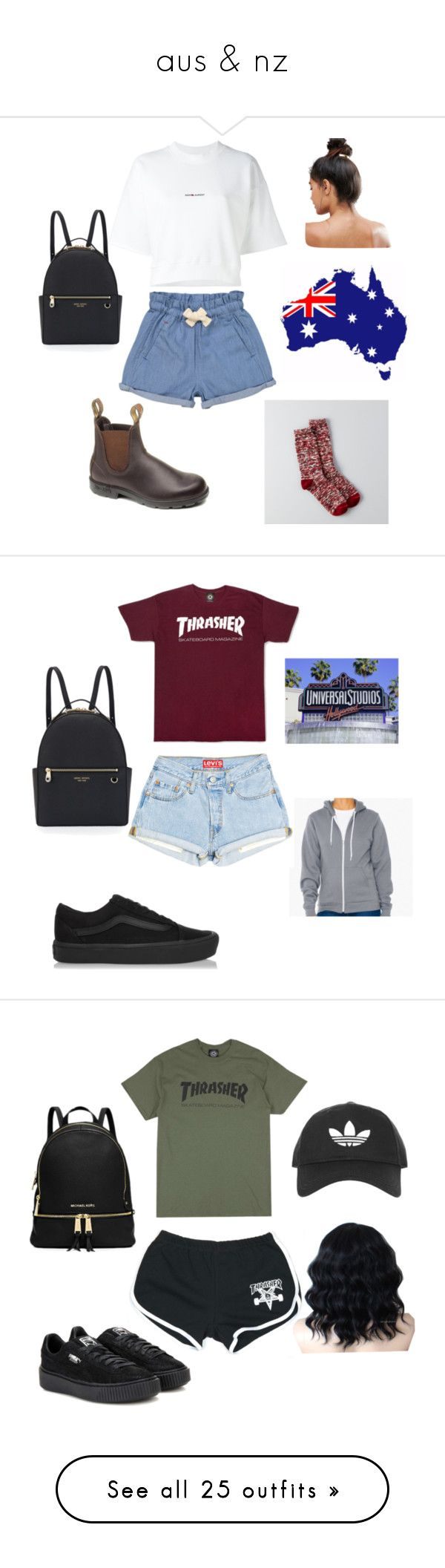 """aus & nz"" by cookiescore on Polyvore featuring American Eagle Outfitters, Tootsa MacGinty, Yves Saint Laurent, Kitsch, Henri Bendel, Vans, Michael Kors, Puma, Topshop and adidas"