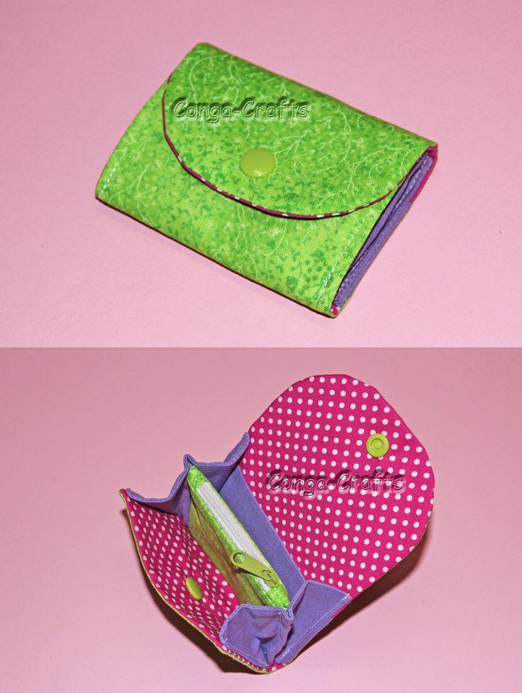 Kleiner Geldbeutel - mini purse. Wie man den nähen kann, zeig ich euch hier: http://youtu.be/F8TYbZudZyQ
