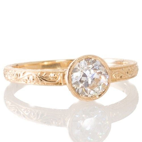 An 18ct yellow gold diamond engagement ring made by Single Stone LA with a 0.73ct old European cut diamond. View our collection of antique, Art Deco, and modern jewellery at www.rutherford.com.au