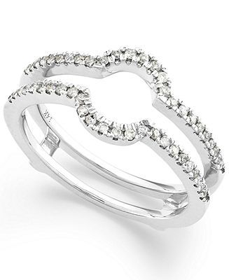Diamond Ring, 14k White Gold Diamond Ring Guard (1/4 ct. t.w.) - Rings - Jewelry & Watches - Macy's