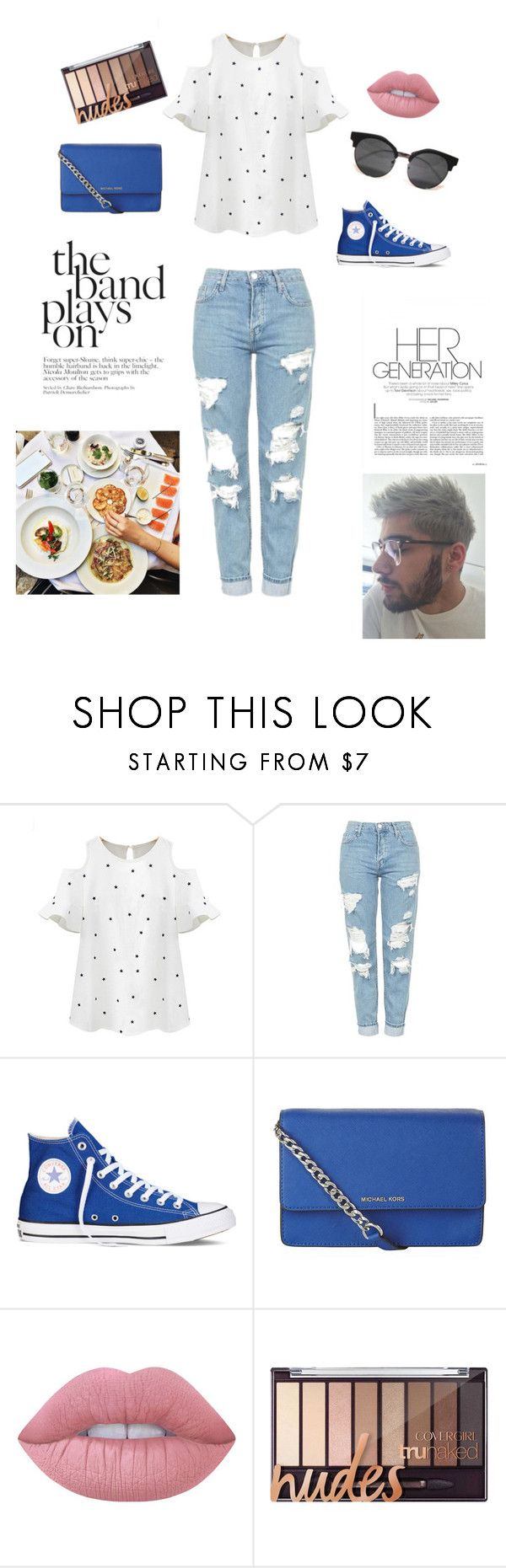 """""""Brunch with Zayn"""" by sarahbear231 on Polyvore featuring Chicnova Fashion, Topshop, Converse, MICHAEL Michael Kors and Lime Crime"""