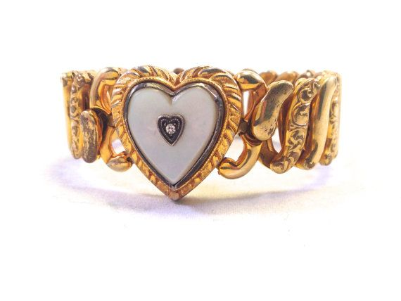 Antique Bracelet Sweetheart Wwii 1940s Mother Of Pearl 12k Gold Fill Heart Military Solr Valentine S Day
