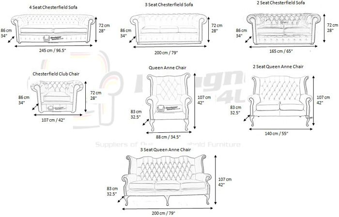 Chesterfield sofa dimensions