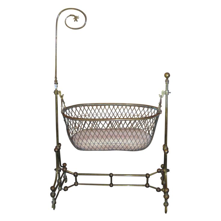 1stdibs | Rare Victorian Brass Swinging Cradle with Original Bed and Lace