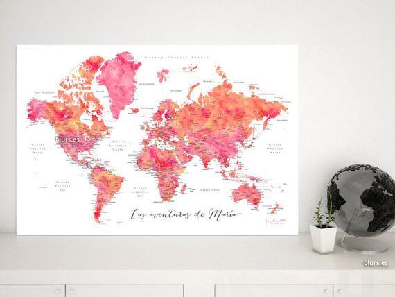 Mapamundi personalizado para marcar viajes, con nombres de países, estados, ciudades, capitales en español, mapa del mundo rosa. MAP173 003
