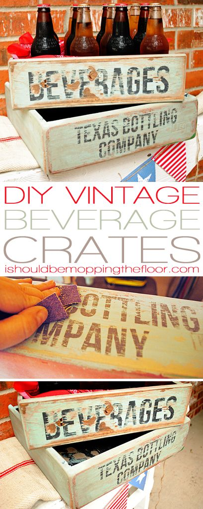 DIY Vintage Soda Crate Tutorial | Includes great painting/aging tips and more (using her Silhouette to cut out the stencils)
