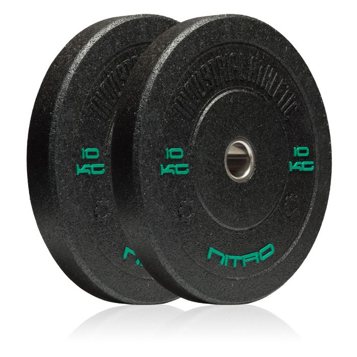 10KG Nitro Bumper Plates - Pair. Recycled Crumb Rubber Olympic Bumper Plates, with chemically bonded 10mm steel inserts.  Medium bounce, and great durability.  Hard-core styling in black.  Bumper plates allow you to safely drop any load from the waist, chest, or even overhead with the confidence that you will not damage yourself, or your equipment.