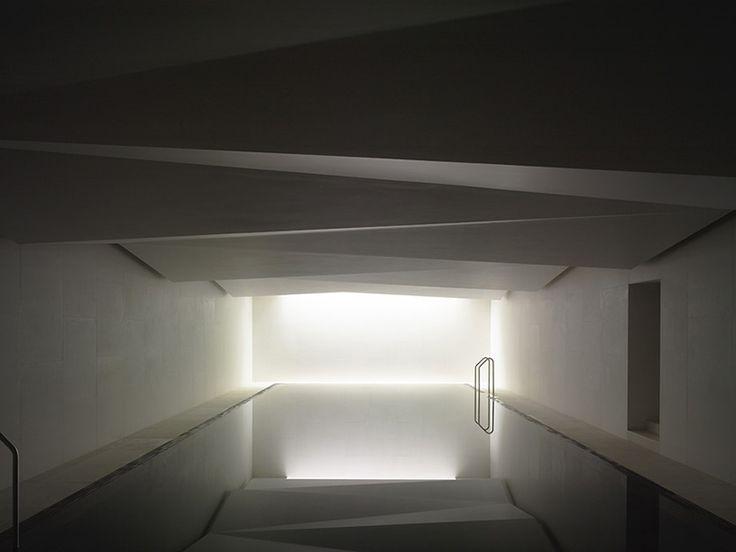 "Water ... meditation / contemplation  ... quietness.  (Beautiful ""underground spa"" by Carmody Groarke)"