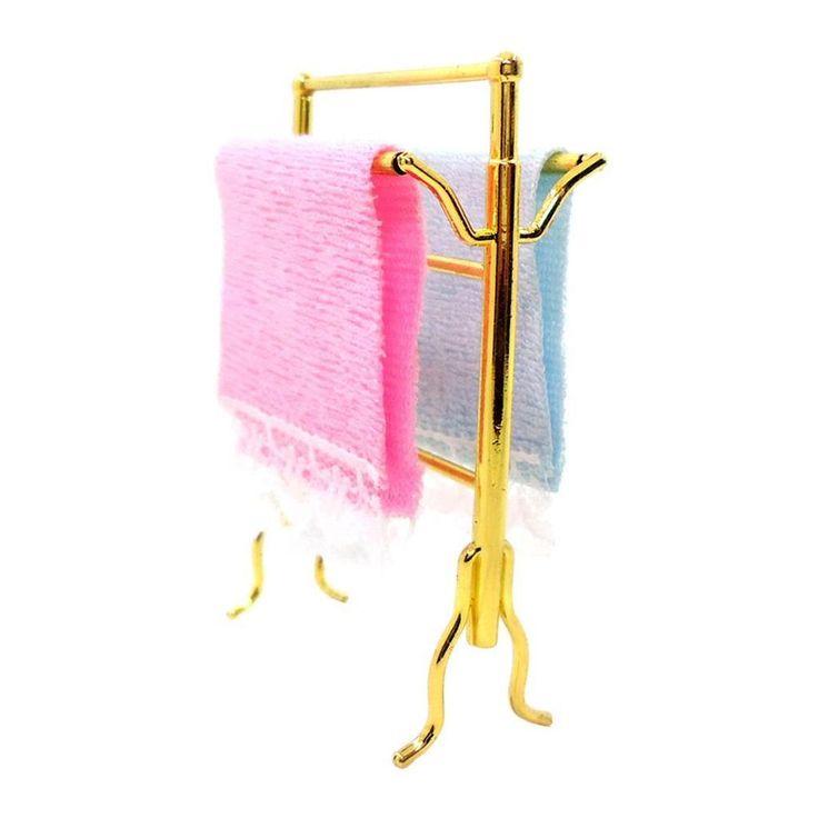 Modern Style Blue & Pink Towels Rack Set 1:12 Dollhouse Miniature Furniture #Unbranded