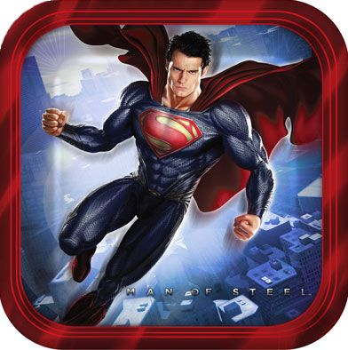 """Superman Dessert Plate (includes 8 pcs of 7"""" paper plates in a pack)"""