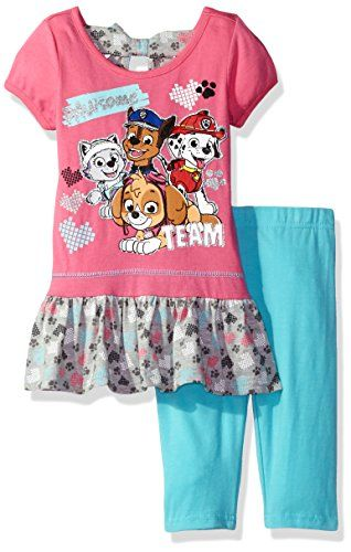 Nickelodeon Girls' 2 Piece Paw Patrol Tee and Legging Set  High low top  Great outfit  Super cute  Your kid will love this