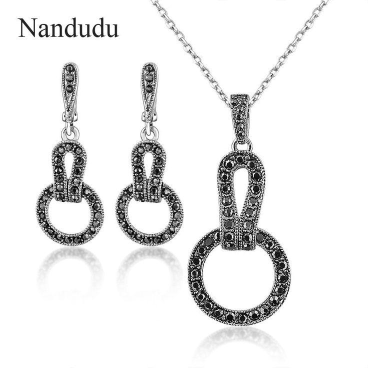 Nandudu lady marcasite Jewelry set black circle necklace earring fashion  jewelry gift for women N1342