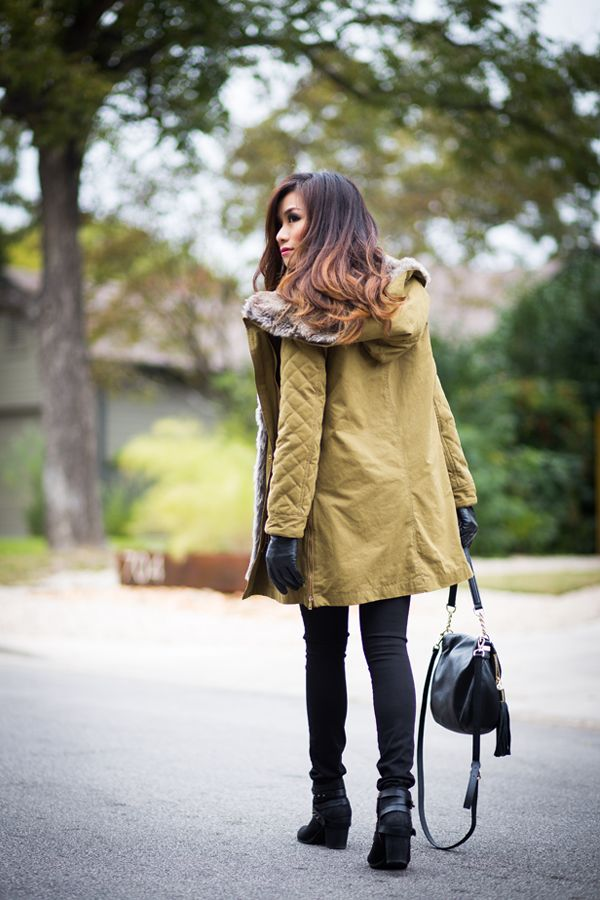 Green military faux fur parka + red buffalo check flannel  #coat #fur #winter #parka #military #plaid