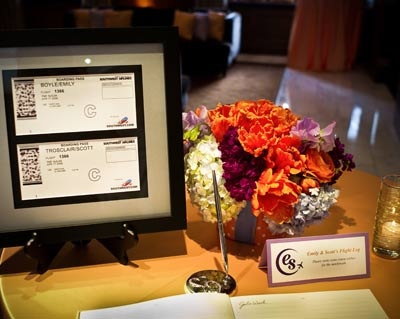 """Guest """"check in"""" at the reception - Aviation Wedding Theme"""