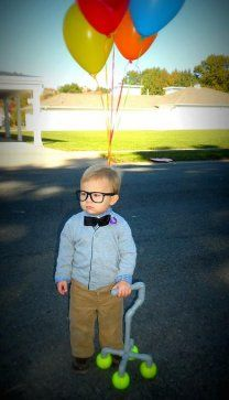 Stacy D explains: ''This is my 22-month-old Jackson and we always call him ''grumpy old man,'' and thought Mr. Fredrickson from ''Up'' would make a perfect costume for him. The homemade PVC cane is nice, but Jackson's expression makes this costume work.