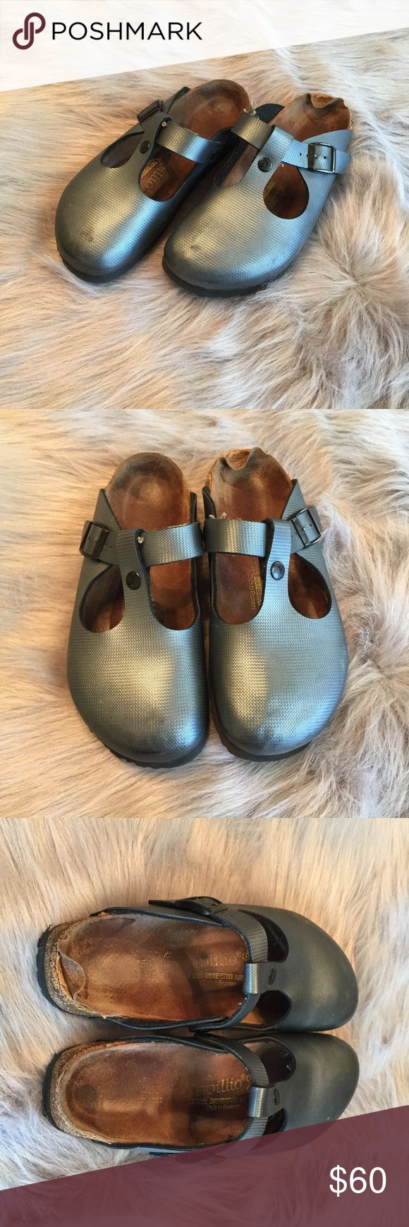 Papillio Birkenstock Gun Metal Gray Clogs size 8 Size 8   Damaged on heel. Refer to pictures. Birkenstock Shoes Mules & Clogs