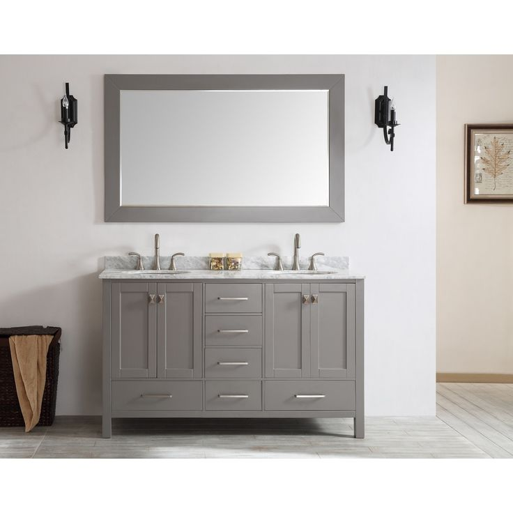 Photo Gallery For Website Eviva Aberdeen inch Transitional Grey Bathroom Vanity with White Carrera Countertop and Double Square Sinks Eviva Aberdeen Grey Bathroom Vanity