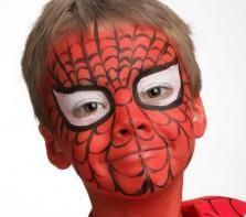 """Pour réaliser ce maquillage """"Spiderman"""", il vous faudra :     Eponge     Pinceau moyen     Fards de maquillage sans paraben : Blanc, Noir, Rouge Vif Ce maquillage très populaire peut aussi être réalisé avec la palette 4 couleurs GRIM'TOUT Super Héros, la palette 9 couleurs GRIM'TOUT Héros ou avec le coffret 6 couleurs Mega Fiesta Box."""
