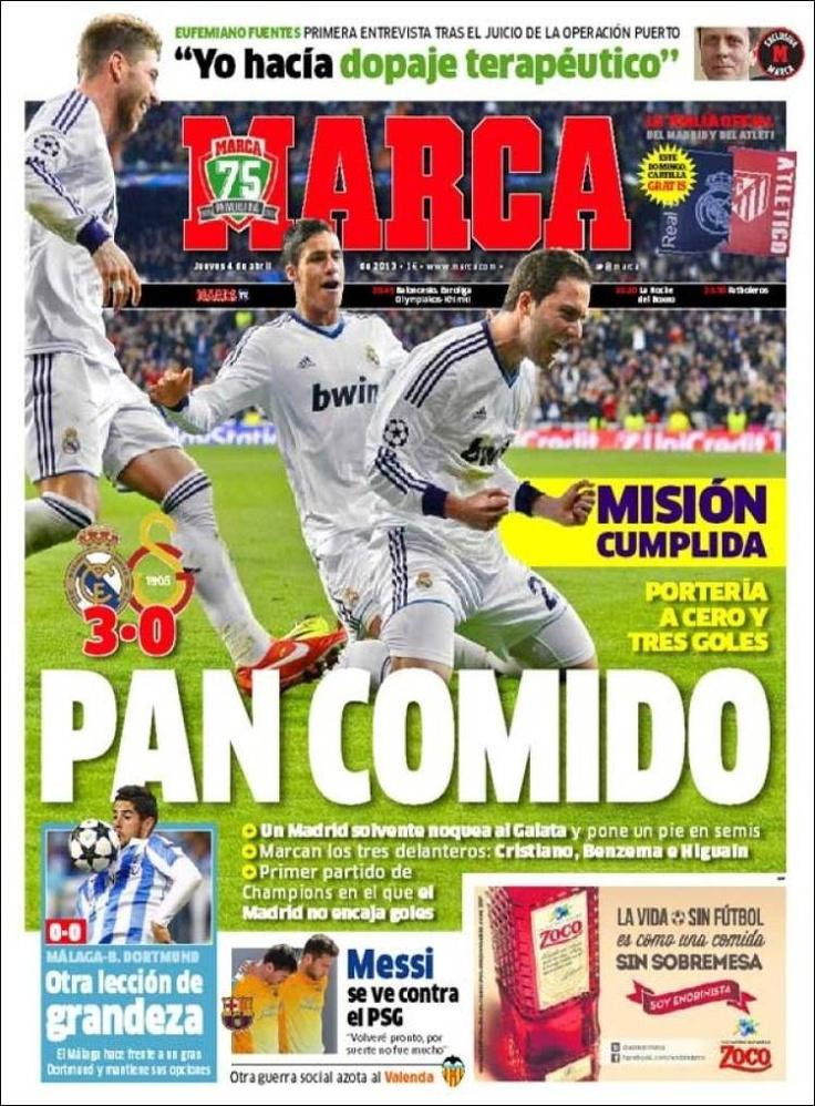 Los Titulares y Portadas de Noticias Destacadas Españolas del 4 de Abril de 2013 del Diario Deportivo Marca ¿Que le parecio esta Portada de este Diario Español?