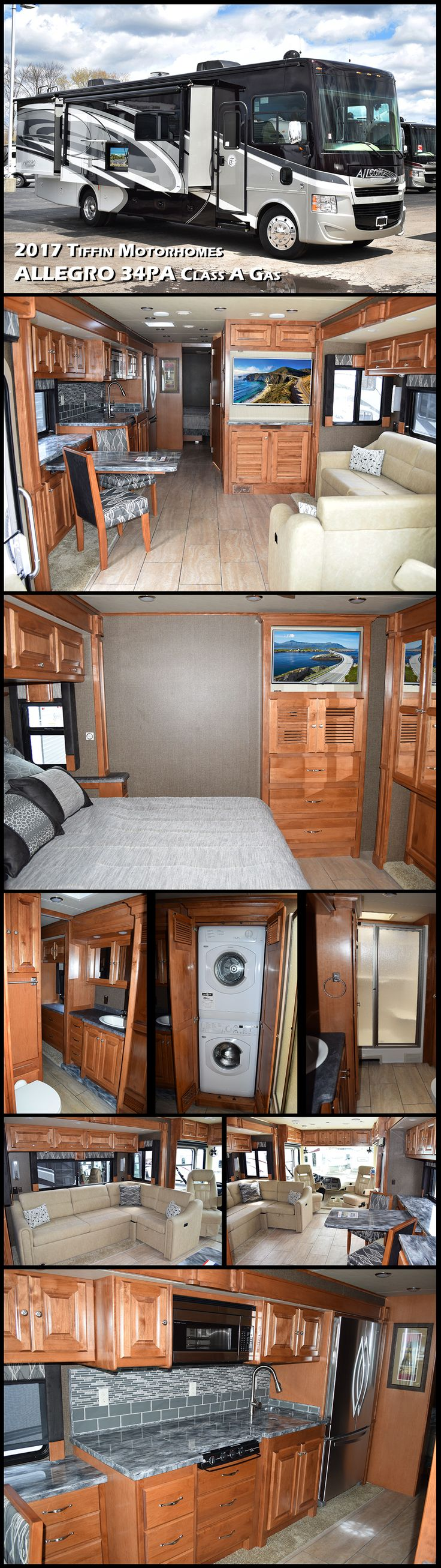 Whether it is across the country or to the campground for a long weekend, the 2017 ALLEGRO 34PA Class A Gas motorhome by Tiffin Motorhomes will get you there in style and comfort! Inside this model you will find quad slides, a rear bedroom, and plenty of space to enjoy your time away.