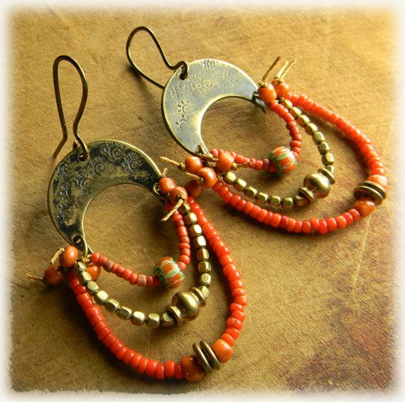 Casbah Earrings Brass Tribal Jewelry Rustic Primitive Red Orange HandmadeOOAK