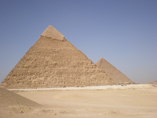 Giza pyramids by bandarji, via Flickr