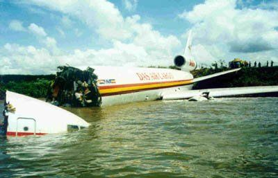 Water Landings: DAS Air Cargo Flight 405 (2000) overran runway into Lake Victoria at Entebbe Airport, Uganda.