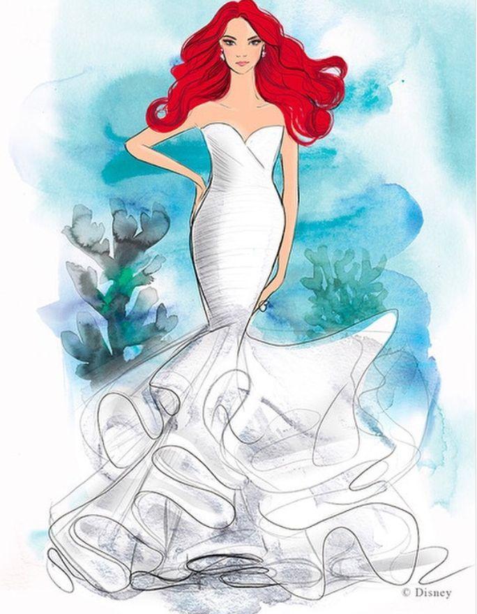 ¡Sí! Si eres de las mujeres que siempre soñó en ser una princesa de Disney, la firma Allure Bridals lo hará posible con 16 vestidos de novias inspirados en ellas. Disney Inspired Wedding Dresses, Country Wedding Dresses, Princess Wedding Dresses, Gown Wedding, Princess Bridal, Disney Weddings, Mermaid Princess, Bridal Gowns, Lace Wedding