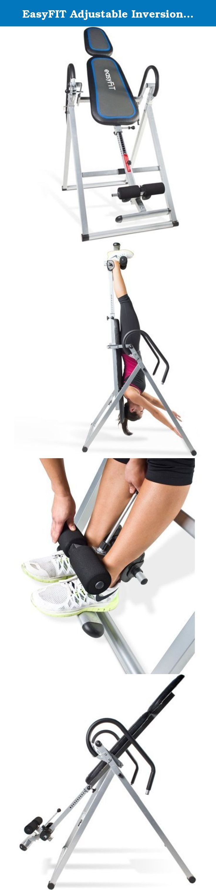 EasyFIT Adjustable Inversion Table. Inversion tables are often recommended by doctors to alleviate back pain, increase flexibility and improve joint health. Most often, you only need to use for a few minutes per day. While inverting, the force of gravity decompresses the spine - which in turn assists to realign and rehydrate discs. Other advantages of using an inversion table is the benefit of relaxing tense muscles, reduction in nerve pressure throughout the back, neck and hips…