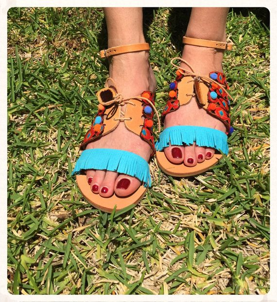 FREE SHIPPING Genuine Greek Leather Sandals by BohemianFootprints