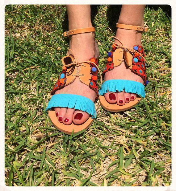 Genuine Greek Leather Sandals ''Daphne'' by BohemianFootprints
