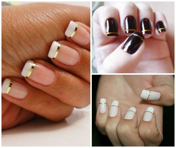 Nails with gold thread.