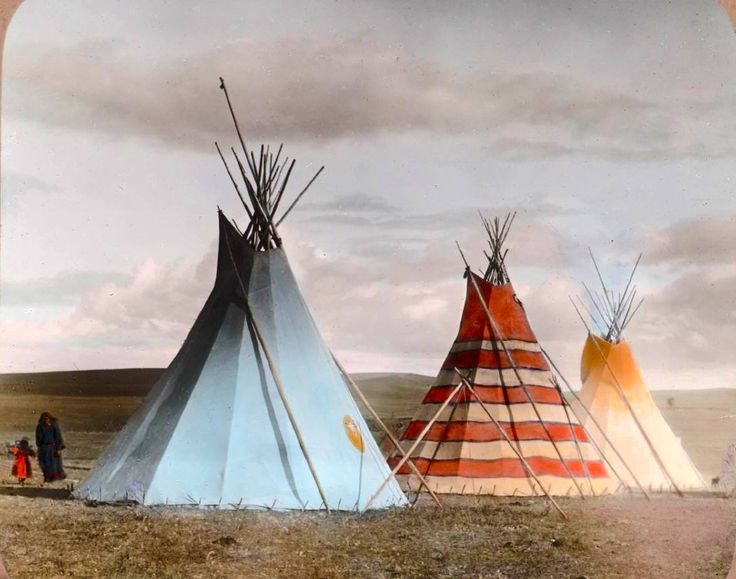 Red Stripe Tipi and the Thunder Tipi. Siksika camp. Montana. Early 1900s. Glass lantern slide by Walter McClintock.