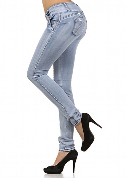 Designed in Colombia Butt Lifting Jeans. These jeans have been designed with a fine yet durable denim fabric to comfortably give you a flattering shapely figure. The lifting look is created by the seam that rises and wraps around the bum diagonally. Duble button and zip fly closure. Rhinestones and sequins decorate this style. Skinny 10 Leg opening. Made from 96% Cotton, 4% Cotton. Rise is 8; Inseam is 31.5 (measured from a size 5) Price: $26.99