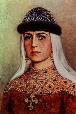 St Olga, the wife of Igor of The Ruriks dynasty (890-969),the ruler of Kievan Rus,the first Russian who took Christianity and the first Russian saint.She was beloved wife of Igor but probably he had also concubines.The legend said Igor met her when she wore a man's suit and harassed her;she gave him rebuff and he made her his bride.According to another legend Igor saved Olga that should be killed in honor of Perun,the pagan God of ancient Russians. After Igor's death she became the ruler