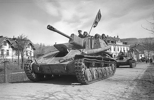 Soviet self-propelled artillery system Su-76M in Vienna in 1945,
