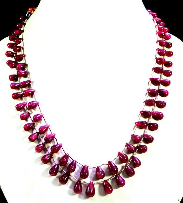 2 Strands Natural Red Ruby 322ct Cabochon Drop Beads Gemstone String Necklace #KrishnaGemsNJewels #StrandString
