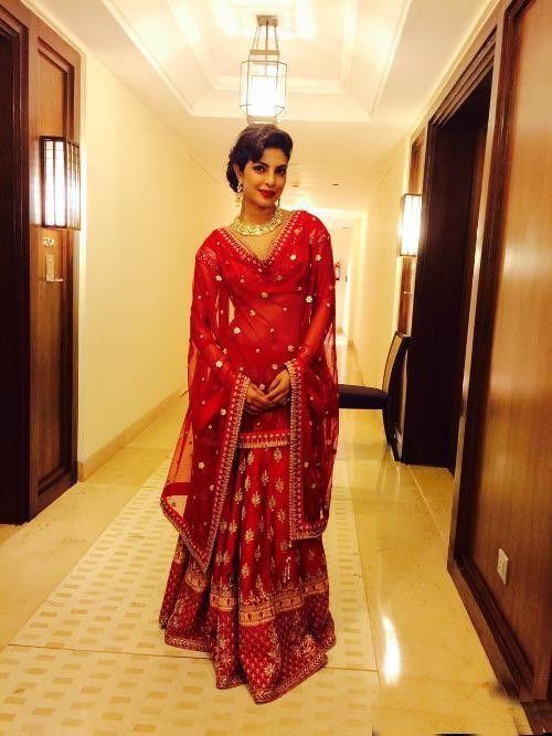 Priyanka Chopra In Red Lehenga Cholisilk Lehenga Cholipriyanka
